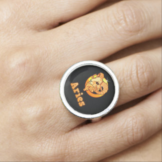 Aries zodiac sign ring