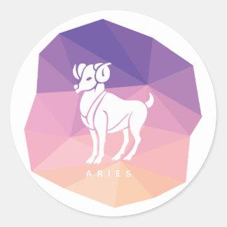 Aries zodiac sign round sticker. classic round sticker