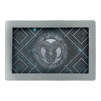 Aries Zodiac Silver Embossed on the Star sky Rectangular Belt Buckles