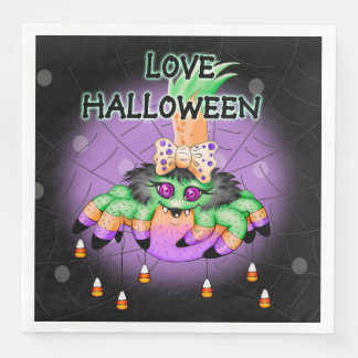 ARIETTE HALLOWEEN SPIDER NAPKINS Standard Dinner Disposable Napkins