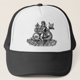 Arion playing harp. riding dolphin woodcut trucker hat
