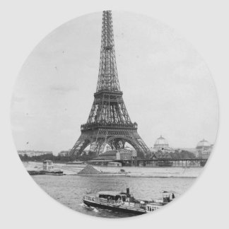 aris,France: view of Eiffel tower and Seine river Classic Round Sticker