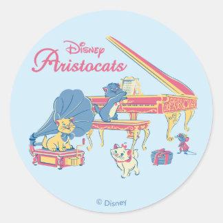 Aristocats at the Piano Classic Round Sticker