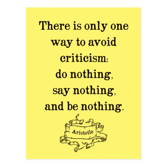 Aristotle Quote on Criticism Postcard