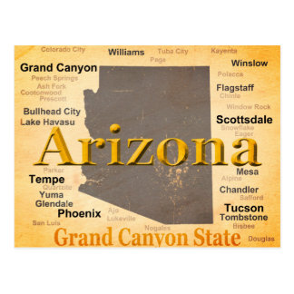 Arizona Aged Map Postcard