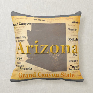 Arizona Aged Map Throw Pillow