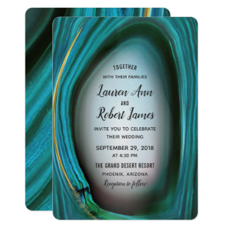 Arizona Blue Agate Hand Painted Wedding Invitation