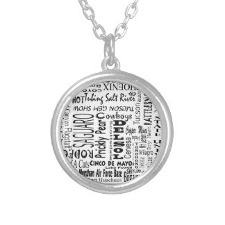 Arizona Buzz Words Silver Plated Necklace