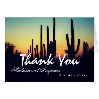 Arizona Cactus Sunset Wedding Thank You Cards