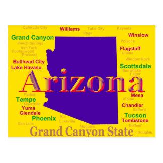 Arizona Colorful Map, Grand Canyon State Postcard