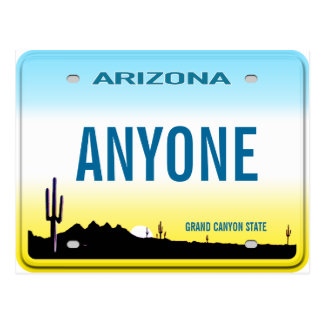 Arizona Custom License Plate Postcard