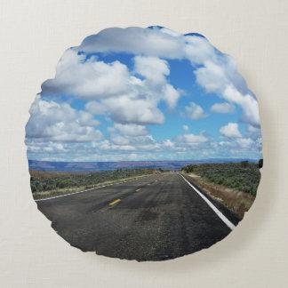 Arizona Desert Road in the southwestern U.S. Round Pillow