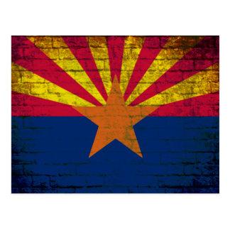 Arizona flag grunge brick wall postcard
