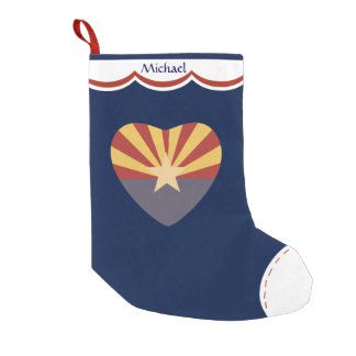Arizona Flag Heart Personalized Small Christmas Stocking