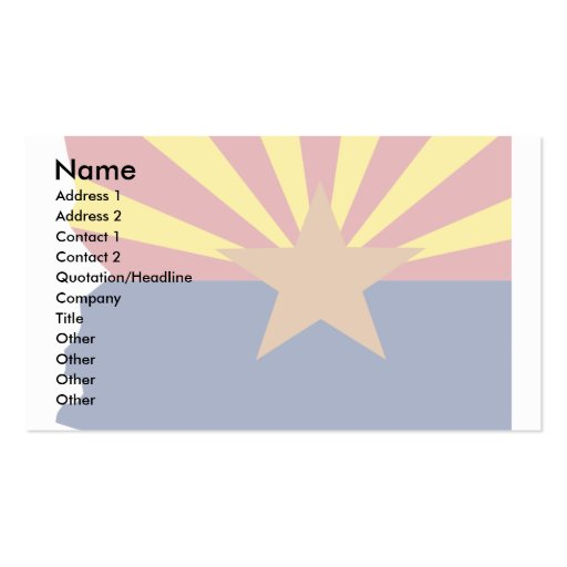 Arizona Flag Map Pack Of Standard Business Cards