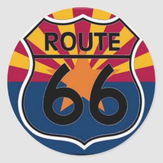 Arizona flag Route 66 Classic Round Sticker