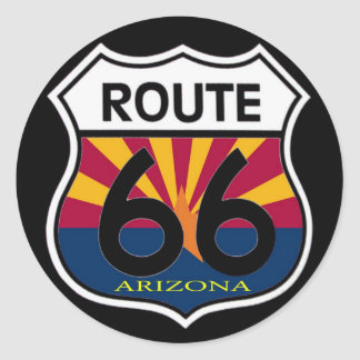 Arizona Flag Route 66 Shield Classic Round Sticker