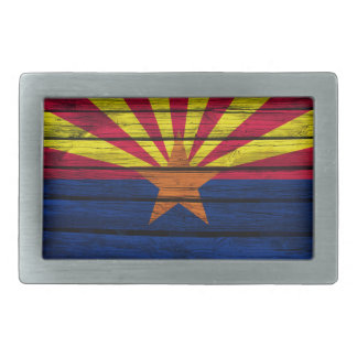 Arizona Flag Rustic Wood Rectangular Belt Buckle