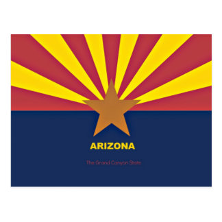 Arizona flag with slogan postcard