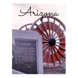 Arizona, Flagstaff Wooden Wheel Memorial Scenery Postcard