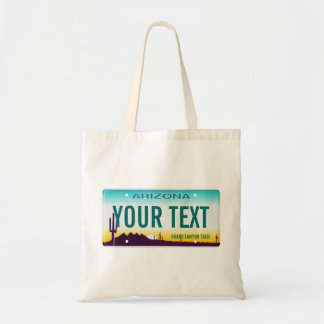 Arizona license plate tote bag