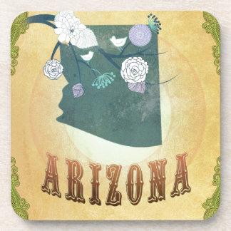 Arizona Map With Lovely Birds Drink Coaster
