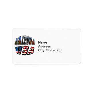 Arizona Picture and USA Flag Text Label