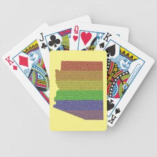 Arizona Rainbow Pride Flag Mosaic Bicycle Playing Cards