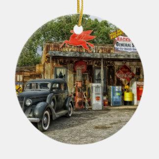 Arizona Route 66 rustic retro store Round Ceramic Ornament