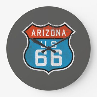 Arizona Route 66 Vintage Retro Distressed Logo Large Clock