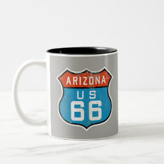 Arizona Route 66 Vintage Retro Distressed Logo Two-Tone Coffee Mug