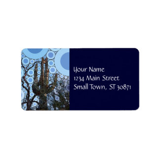Arizona Saguaro Cactus Concentric Circle Mosaic Label