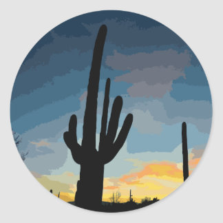 Arizona Saguaro Cactus Southwestern Sunset Classic Round Sticker