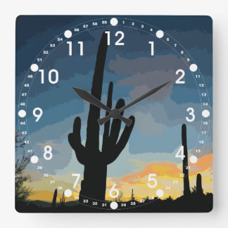 Arizona Saguaro Cactus Southwestern Sunset Clock