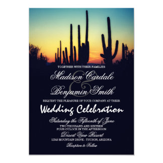 Arizona Saguaro Cactus Sunset Wedding Invitations