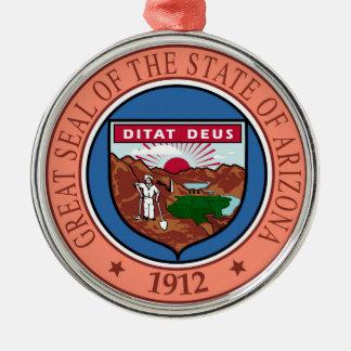 Arizona seal united states america flag symbol rep Silver-Colored round ornament