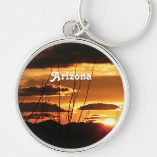 Arizona Silver-Colored Round Keychain