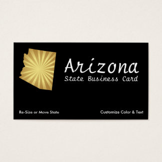 Arizona State Business Card Sun Rays Metallic Gold