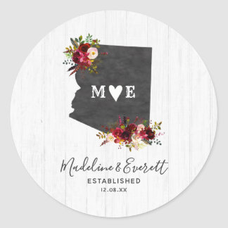 Arizona State Destination Rustic Monogram Wedding Classic Round Sticker