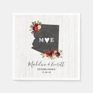 Arizona State Destination Rustic Wedding Monogram Paper Napkins