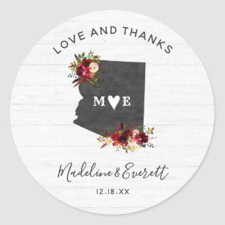 Arizona State Destination Rustic Wedding Thank You Classic Round Sticker