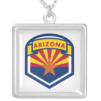 Arizona State Flag and Banner Silver Plated Necklace