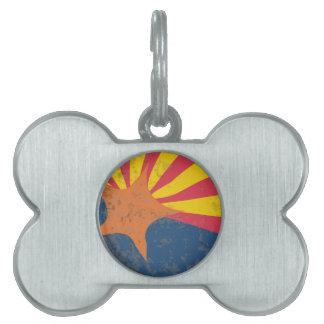 Arizona State Flag Grunge Pet ID Tag