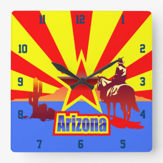 Arizona State Flag Vintage Illustration Square Wall Clock