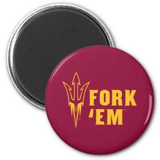 Arizona State Fork 'Em 2 Inch Round Magnet