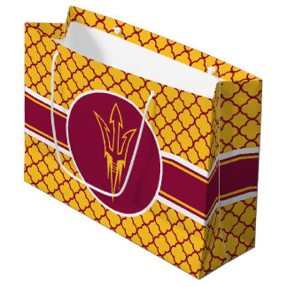 Arizona State Fork | Quatrefoil Pattern Large Gift Bag