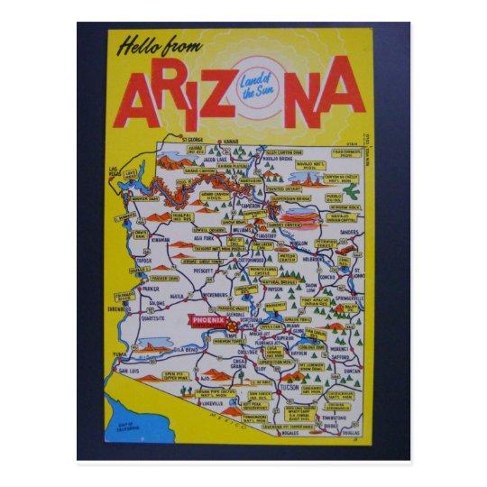 Arizona State Map Postcard