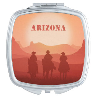 Arizona Sunset custom text pocket mirror