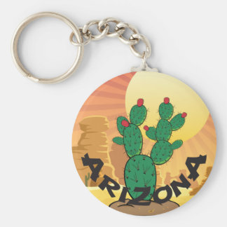 ARIZONA Sunset Prickly Pear Cactus Basic Round Button Keychain
