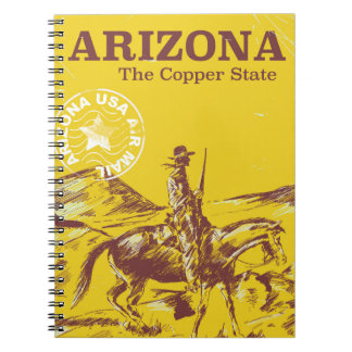 Arizona the copper state vintage travel poster spiral notebook